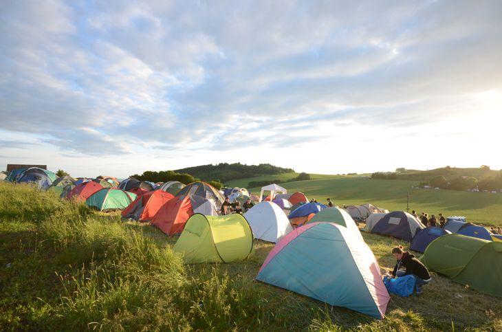 Blick vom Zeltplatz auf das Musikschutzgebiet